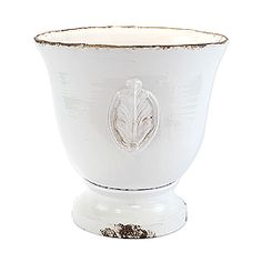 Vietri White Large Emblem Footed Planter Italian Villa, Rustic Gardens, Outdoor Planters, Beautiful, Farmhouse Garden