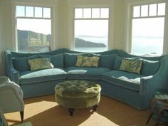 Sectional sofa + bay window...dreamy colors and shapes...but won't work in my house....maybe a dream house...