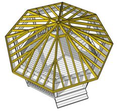 Learn some tips for building a gazebo roof over your deck. Gazebo Roof, Gazebo Plans, Shed Roof, Casa Octagonal, Octagon House, Round Pen, Modern Roofing, Building A Pergola, Roof Trusses