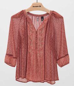 BKE Boutique Chiffon Henley Top - Women's Shirts/Tops | Buckle