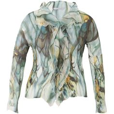 Chesca Smoke Print Crush Pleat Blouse, Khaki ($75) ❤ liked on Polyvore featuring tops, blouses, collar blouse, plus size long sleeve blouse, long sleeve blouse, women's plus size blouses and long sleeve tops