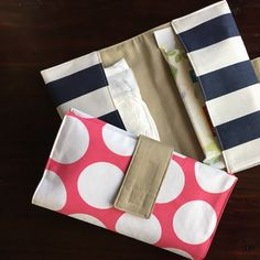 Pink or blue? Got ya covered! Both diaper clutches are back in the shop today.