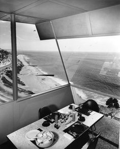 "1955 - The Richard and Eloise Spencer House, aka Spencer House III, aka the Malibu House, located above Castle Rock, Porto Marina Way, Pacific Palisades CA    ""House on a Cliff"". B photos by Julius Shulman."