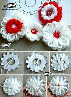 DIY cardboard flower loom - yarn flowers diy Good additional challenge activity for .DIY cardboard flower loom - yarn flowers diy Good additional challenge activity for when we do some weavingLace Flower Scarf Free Crochet Loom Flowers, Diy Flowers, Crochet Flowers, Fabric Flowers, Paper Flowers, Loom Yarn, Loom Weaving, Loom Knitting, Knitting Machine