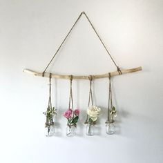 hanging branch with vases - The People Shop - Basteln - Vase ideen Home Decor Accessories, Decorative Accessories, Decorative Items, Home Crafts, Diy And Crafts, Homemade Crafts, Decor Crafts, Deco Boheme, Deco Floral