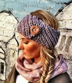 Aspen Knitted Headband with Button