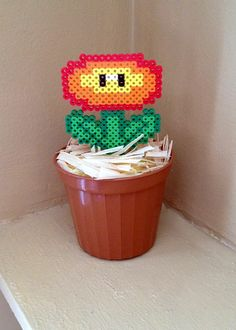 8 Bit Potted Plant Collection - Fire Flower Plant - Mario perler beads by Erin Bunuan