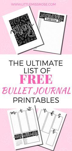 The Ultimate List of Free Bullet Journal Printables! · Little Miss Rose Bullet Journal Printables, Journal Template, Bullet Journal Layout, Bullet Journal Inspiration, Bullet Journals, Work Life Balance, Journal Prompts, Journal Ideas, Planner Journal