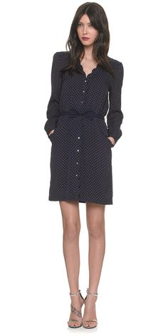 shirt dress with polka dots and subtle scalloped edges. yes please.