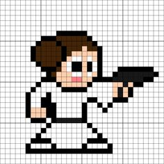 Leia Organa Perler Bead Pattern Easy Perler Bead Patterns, Pearler Bead Patterns, Cross Stitch Patterns, Perler Beads, Fuse Beads, Minecraft Quilt, Minecraft Pixel Art, Pixel Art Star Wars, Beading Patterns