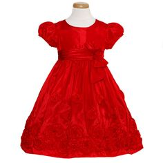 Bonnie Jean Toddler Girls Size 3T Red Taffeta Bow Christmas Dress