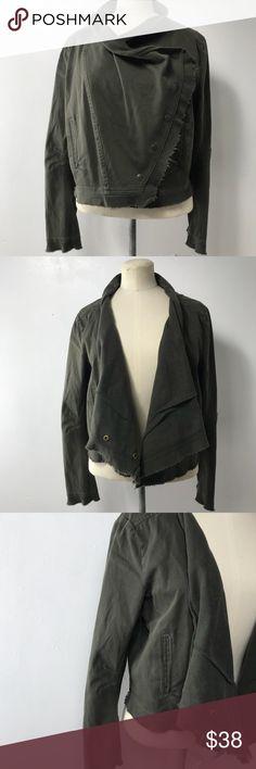 """American Rag NWT Olive green multi wear jacket. L American Rag NWT Olive green multi wear fringe end jacket.  Size Large  Shoulder to shoulder 17""""  Waist 37"""" Length 19"""" American Rag Jackets & Coats"""