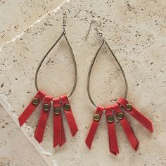 """Aleah Earrings These red leather earrings are perfect for a pair of jeans or a night on the town. 4"""" drop. $12  #earrings #plunderdesign #fashion #red #style"""