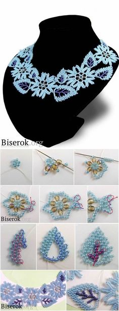 Beading ___ Necklace of Bead Woven Leaves and Flowers Seed Bead Crafts, Seed Bead Jewelry, Bead Jewellery, Bead Loom Patterns, Beaded Jewelry Patterns, Beading Patterns, Beaded Necklace, Beaded Bracelets, Necklaces