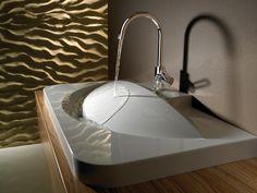 26 Stylish Sinks It Would Be An Honor To Wash My Hands Inside Außergewöhnliches, konvexes Waschbecken! Lavabo Design, Sink Design, Modern Bathroom Sink, Modern Sink, Smart Home Design, Modern Design, Heating And Plumbing, Concrete Design, Bathroom Interior Design