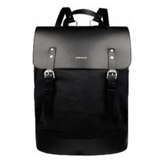 Sandqvist Hege Black Backpack (285 CAD) ❤ liked on Polyvore featuring bags, backpacks, leather laptop bag, genuine leather bags, leather bags, real leather backpack and backpack bags