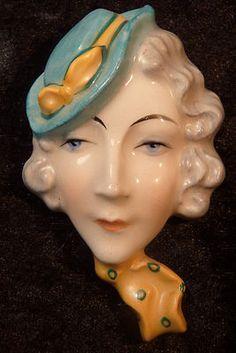 Vintage Czech Art Deco Ceramic Miniature Wall Mask of Lady's Head Dux   eBay