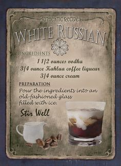 White Russian Cocktail Recipe,Cafe Pub, Man Shed,Home Decor:Metal Sign Gift Liquor Drinks, Cocktail Drinks, Beverages, Amaretto Drinks, Refreshing Cocktails, White Russian Cocktail, Alcholic Drinks, Alcohol Drink Recipes, Smoothie Drinks