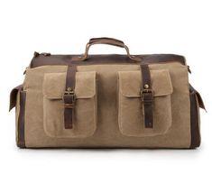 Vintage Canvas Leather Travel Bag Briefcase Messenger Shoulder Bag Dufulle Bag 1858