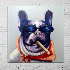 Hand Painted Hot Sell Animal Painting Smoking Dog With Glass Canvas Oil Paintings Home Decor For Living Room