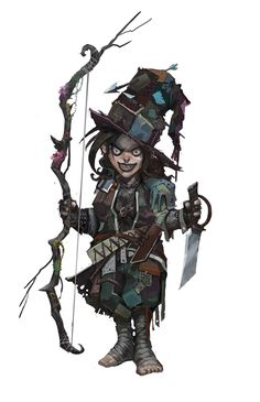 Female halfling gnome brown-hair brown-eyes light-skin ranger druid warlock light-armor gambeson dagger shortbow longbow hat no-magic no-mount no-pet