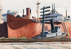 Docked Freighter and Tugboat, Edward Hopper, Whitney Museum of American Art American Realism, American Artists, Manet, Edward Hopper Paintings, Toulouse, Whitney Museum, Belle Villa, Tug Boats, Hale Navy