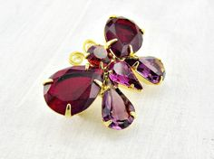 Vintage Joan Rivers Brooch Pin, Rhinestone Gold Butterfly Brooch, Ruby Red & Purple Amethyst Crystal Brooch, 1980s Jewelry, Gift for Her Mom by RedGarnetVintage