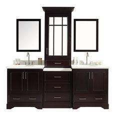 Countertops Ariel Stafford Double Sink Vanity Set with White Quartz Countertop - Espresso Double Sink Bathroom, Double Sink Vanity, Vanity Set With Mirror, Bathroom Vanity Tops, Vanity Sink, Bath Vanities, Bathroom Storage, Bathroom Ideas, Modern Bathroom