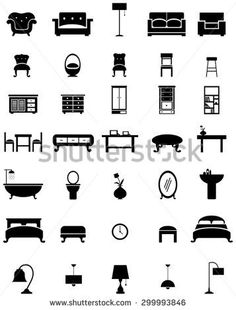 Silhouette flat home appliance furniture and interior decoration icon such as sofa chair lamp cupboard shelf closet basin bathtub bed mirror and table collection design set, create by vector