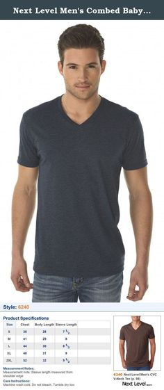 Next Level Men's Combed Baby Rib Knit V-Neck T-Shirt, Midnight Navy, X-Large. 4.3 oz, 60% combed ring-spun cotton/40% polyester jersey 32 singles Fabric laundered Set-in 1x1 CVC baby rib collar Tear Away label Sizes: S - 2X .