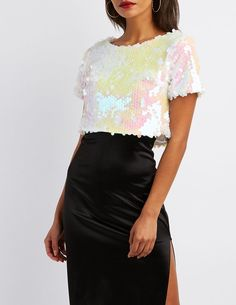 Holographic Sequins Crop Top #springoutfits #summeroutfits #shopstyle