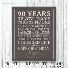 90th BIRTHDAY GIFT Sign Canvas Print Personalized Art Mom Dad Grandma Birthday Grandpa Or Digital Download Keepsake Custom 90 Years