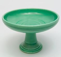vintage Fiesta sweets compote - original green glaze, circa 1937-46 -- I want!