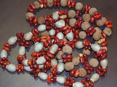 Aboriginal Necklace from Ntaria (Hermannsburg) made using Eucalyptus opaca, Quandong and Red Bean Tree fruits, Central Australia.