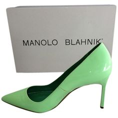 Pre-owned Manolo Blahnik Bb Pistachio, Green Pumps ($348) ❤ liked on Polyvore featuring shoes, pumps, green shoes, manolo blahnik, manolo blahnik pumps, green pumps and patent shoes