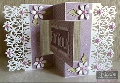"""Angela Clerehugh - Flip Card - Die'sire Edge'ables Parisian Die - Centura Pearl Card - Downton Abbey Paper Pack - Sara Davies Floral Delight Leafy Flourish Die - Sara Davies Floral Delight Pretty Petals Die - Die'sire Contemporary Upper & Lower Case 1"""" Alphabet Dies - Die'sire Accordian Rectangle Die - Colall Tacky Glue  - Pearls  - Gems - #crafterscompanion"""