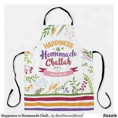 Happiness is Homemade Challah Floral & Stripes Apron