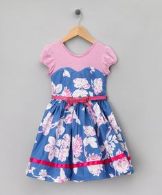 Blue floral print sweetheart dress. toddlers/girls