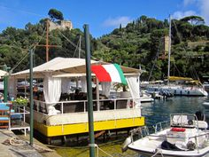 PORTOFINO:  The floating terrace of La Gritta http://destinationfiction.blogspot.ca/2015/03/resort-towns-of-italian-riviera.html