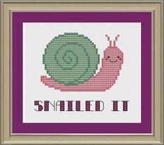 Snailed it funny snail crossstitch pattern by nerdylittlestitcher