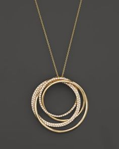 Diamond Overlapping Circle Pendant Necklace in 14K Yellow Gold, .70 ct. t.w. | Bloomingdale's