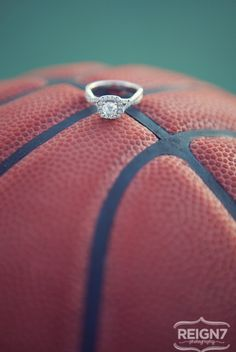 Basketball wedding pic, maybe put my ring on a basketball and Tyler's ring next to it on a baseball inside a baseball glove
