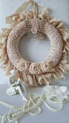 Shabby chic rag wreath , Wreath , Fabric wreath , Country chic wall decor , Country chic , Wreaths , Gift for her , Shabby chic home decor