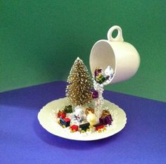 Christmas Decor, Floating Cup, Christmas, Centerpiece, Winter Décor, Christmas Centerpiece, Topiary, Winter, Train, Winter Centerpiece, Snow