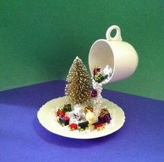 Christmas Decor, Floating Cup, Christmas, Centerpiece, Winter Décor, Christmas Centerpiece, Topiary, Winter, Train, Winter Centerpiece, Snow