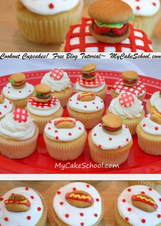 Adorable cookout cupcakes!  Learn to make these EASY hot dog & hamburger cupcake toppers in MyCakeSchool.com's free blog tutorial!