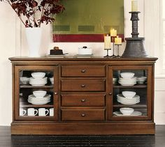 Buffet table for dining room- maybe I should replace the doors to ours with glass...