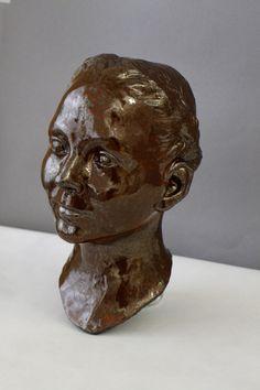 Self portrait, clay and glaze Glaze, Lion Sculpture, Statue, Portrait, Art, Enamel, Art Background, Headshot Photography, Kunst