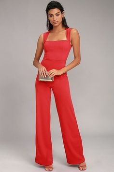 There's no end to how you could style the Enticing Endeavors Red Jumpsuit! Sleeveless jumpsuit has a squared-off neckline, seamed bodice and wide pant legs. Leather Jumpsuit, Red Jumpsuit, Shades Of Red, Jumpsuits For Women, Luxury Fashion, Rompers, One Piece, Stylish, How To Wear