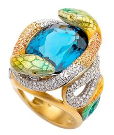 Masriera Imperial Snake yellow gold ring with a carat oval-cut London topaz, yellow sapphires: